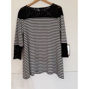Chico's Striped Top With Lace Detail